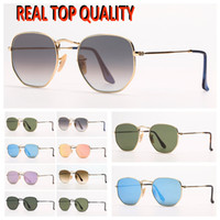 Gafas de sol de moda para mujer Gafas de sol para hombre Gafas de sol Hexagonales Gafas de sol Eyeware con estuche popular de cuero de diseño y paquetes al por menor