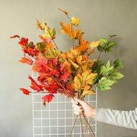 Flores decorativas grinaldas insuble galho de árvore com folhas coloridas seda artificial para festa de casamento decoração de queda