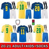 Brezilya 2021 2022 Futbol Forması Ev Uzakta Camiseta Futbol Neres Coutinho Futbol Gömlek Firmo İsa Marcelo 21 22 Maillot De Ayak Brasil Yetişkin + Çocuk Kiti Çorap