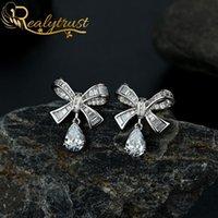Reaytrust Trendy Bowknot Goccia d'acqua Erecchini Diamond Diamond Orecchini per le donne Solid 925 Sterling Sterling Gemstone orecchini orecchini matrimonio