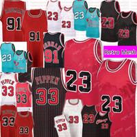 Retro # 23 Scottie 33 Pippen Jersey Dennis 91 Rodman Basquete Jerseys Mens Retro Malha Jersey Vermelho preto branco