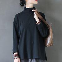 Johnature Kış Kadın T-shirt Balıkçı Yaka Siyah Beyaz Yeni Uzun Kollu Kazak Pamuk Casual Kısa Gevşek Üst Kadın T-Shirt T200110