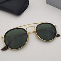 Moda Top Quality Rodada Sunglasses Retro Duplo Bridge Metal Frame de Soleil Aplicável Condução praia com caixa de varejo livre