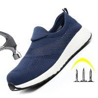 Markenarbeit Safety Schuhe Leichte Stahl Toecap Unzerstörbare Schuhe Männer Frauen Arbeit Sicherheitsstiefel Atmungsaktive Männliche Schuhe LJ200918