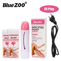 Zoológico azul 4-in-1 depilatório conjunto com máquina de aquecedor de cera / rolos de cera depilatório / fitas de depilação não tecidas depilando papel para remova de cabelo