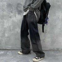 Goohojio 2020 nouvelle taille haute goutte jeans larges jambe lâche dégradé droit dégradé jeans femmes été harajuku noir demin pantalon femme1
