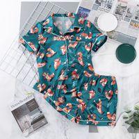 Hiloc Karikatür Baskı Fox Pijama Set Üst ve Şort Desen Pijama Kadın Pijama Cep Düğmesi Kısa Kollu Ev Suit Setleri 2021 W1225