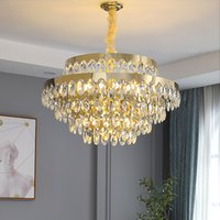 New modern chandelier lighting for living room round gold crystal light fixtures dining room kitchen island cristal home LED lamps