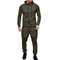 2021 New Sport Running Gym Clothing Casual Hoodies Tracksuit Set Men Zipper Sweatshirt+pant Jogger Suit Chandal Hombre 62e8