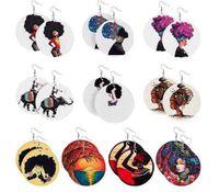 Fashion rond Femme africaine Imprimer Boucles d'oreilles en bois peints Boucles d'oreilles de style ethnique Boucle d'oreille Drop Boucles d'oreilles