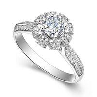 Cluster ringar 14K AU585 Vit Guld Ring Kvinnor Bröllopsjubileum Förlovningsparty Ruby Crown 4 Claw Round Moissanite Diamond Elegant