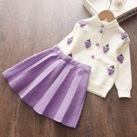 Медведь лидер девушки зимняя одежда набор с длинным рукавом свитер футболка юбка 2 шт. Одежда костюм лук детские наряды для детей одежда для девочек 201126