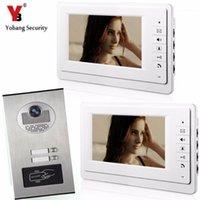 """Teléfonos de video Teléfonos de puertas Yobang Security 7 """"pulgada Timbre con cable Timbre de la entrada de la entrada de la entrada del teléfono con la cámara IR de acceso RFID para 2 unidades1"""