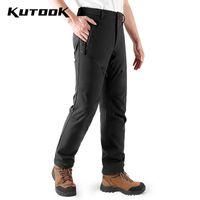 Открытые брюки Кутук мужские мягкие оболочки зимние термические водонепроницаемые ветрозащитные спортивные брюки походные лазания