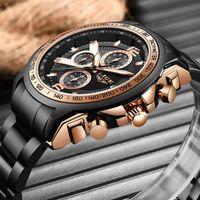 Armbanduhren Lige Uhr für Männer Top Edelstahl Chronograph Sport Wasserdichte Quarz Uhren Mode Datum Uhr