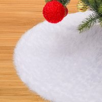 Christmas Plush Tree Dress Plush Ourwarm Pure 48 Inch White Christmas Tree Skirt Faux Fur Carpet for New Year Home Decorations EEA2144