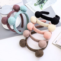 Cute Headband For Girls Woolen Balls Hair Accessories Autumn Winter Women Hairbands Bezel Fashion Headwear Head Hoop