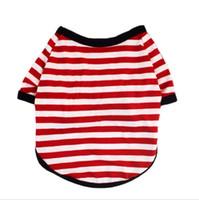 Vêtements pour animaux de compagnie Chemise élastique Chien de compagnie Chien à rayures Vêtements coton chaud hiver t-shirt Costume de chiot chat