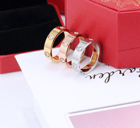 Hot Sale Women Men Couple Ring Jewelry 4MM 5MM 6MM Silver Gold Rose Gold Color titanium steel Lover Rings with box