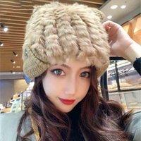 진짜 모피 비니 모자 귀여운 귀 겨울 모자를 들어 여성 러시아어 리얼 모피 겨울 스키 모자 보호 귀 여성 캡을 따뜻하게