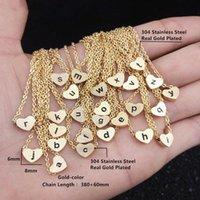 Anhänger Halsketten A B C g H I J K L M N P Q R S T U V W X Y Z Edelstahl Herzform für Frauen Männer Gold Farbe A-Z Brief Halskette