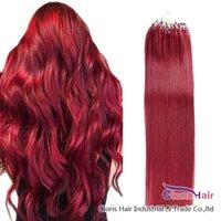 #Bug Micro Perlen Schleife Natürliches Haar 100 Stränge 0,5g / s Burgund Gerader Silikon Micro Ring Brazilian Remy Hair Extensions Große Textur