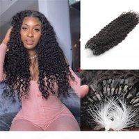 Gelockte Micro Ring-Schleife Haarverlängerungen Echtes menschliches Haar Natürliche schwarze Micro-Links Keratin Haarverlängerungen 100g 1g Strang