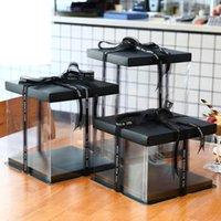 5pcs / lot papier noir Couvercle en plastique Cadeau d'emballage Box Clear Anniversaire Cake Coffret Décoration Grand Toy cadeau de jouet transparent boîtes d'affichage1
