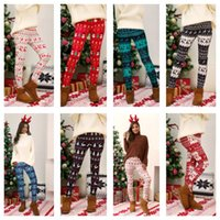 플러스 사이즈 크리스마스 레깅스 바지 크리스마스 트리 눈송이 엘크 인쇄 바지 스키니 스타킹 다리가 여성 Bootcut 바지 바지 S-5XL E111105
