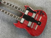 Factory Custom Double Neck Wine Red Electric Guitar With 6+ 1...