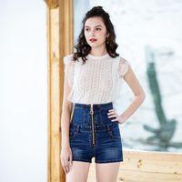 Pantalones cortos para mujeres 2021 Moda de verano High Cintura con cremallera Denim Plus Tamaño Stretch Jeans Strap de abdomen femenino Casual