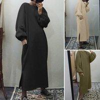 Zanzea Femminile Autunno Autunno Felpa Pocket Felpa Dress Abito Oversize Casual Manicotti a Poppino Maxi Robe Lady Solid O Neck Vestidos 5xL1