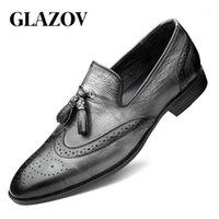 Glazov Marke LEDER LASTE Herren Müßiggänger Hochzeit Party Kleid Schuhe Schwarz Grau Mönch Strap Lässige Mode Männer Slip auf Schuhe 36-481
