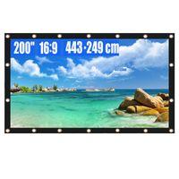 Écran de projection Écran projecteur 200 pouces 16: 9 Films portables pliables pliables et pliables pour le bureau de cinéma à domicile extérieur intérieur