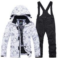 Лыжные куртки Теплые снежные костюмы для детей с капюшоном брюки с капюшоном брюки зимний костюм мальчики толстые спортивные детские лыжные одежды набор Suredoor SMPWBPARD OUTFI