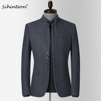 Schinteon Men New Spring Blazer Куртка стойки воротник Slim Fit Eartwear умный повседневный высокого качества китайский тунистический костюм 201104