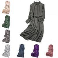Feminina 100% pura manga comprida de seda colared camisa longa vestido cor sólida um tamanho JN023 lj200818