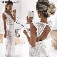 M.H. Vintage sem encosto profundo profundo V-pescoço transparente vestido de renda oco out vestido longo casamento praia verão vestidos1