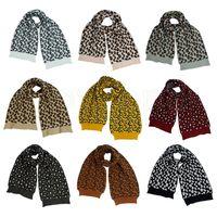 Lana di inverno delle donne sciarpa lavorata a maglia del leopardo di modo della stampa di lana a maglia Sciarpe esterna Crochet Warm antivento Scialle partito 9colors favore RRA3745
