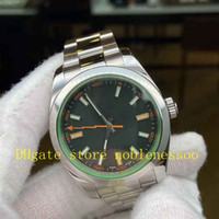 Men's 40mm Green Crystal Orange Hand Black Dial Watch 116400GV 116400 Mens Oyster steel Bracelet Watch White Dial Automatic Men Watches