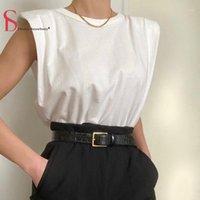 T-shirt Femme Double fraise Femmes Coton Sans Sans Sans Sans Loge Fit Fit Slim Elegant T-shirt Tank Thirt Tshirt1