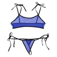Sistemas de sujetadores Malla de mujer Veo a través de la lencería sexy Set Mini traje de baño Micro Plancha Sujetador Top G-String Thong Briefs Erótico Ropa interior 2 unids