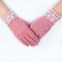 Cinq doigts Gants Elifashion Femelle Femme Chaud Solfet Écran Écran Mitat De Peluche Peluche Court Velvet Femme Petite Flore Dentelle Conduite Glove1