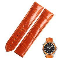 Wentula Watchbands for Omega Seamaster 2909.50.38 البرتقالي التمساح الجلد / الحبوب التمساح 22mm