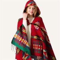 Bohême Châle hiver capuche Cape Hoodies Femmes Pashmina polaire Sherpa Cape Outdoor écharpe dames Glands Wraps Elegent Outwear Mats LY10261