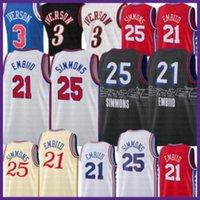2021 Yeni Joel 21 Embiid Basketbol Jersey Ben 25 Simmons Erkek Allen 3 Iverson Mesh Julius 6 ERVING Retro Ucuz Ordu Yeşil