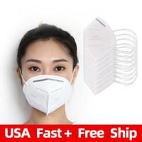 FFP2 Beyaz 5ply Yüz Maskesi Koruyucu Kullanımlık KN95 Solunum Emniyet Maskeleri Amerika Stok