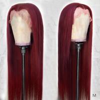 Brasilianer gerade T-Spitze-Teil-Perücke 99J Human-Haar-Perücken für Frauen 13 * 0,5 Spitze-Perücke Burgund-Spitze-Frontperücke nicht remy