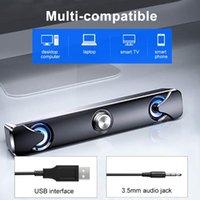 SADA V110 New Computer Speaker Soundbar Speakers with LED Light 3.5mm Wired Speakers Bar for TV PC Cellphone Laptop Desktop
