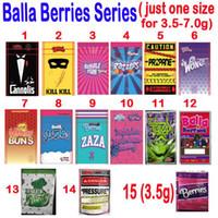 Empty 3.5g 7.0g Balla Berries Packaging BAGS CANNOLIS BUBBLE YUM RAZZLES PROPANE ZAZA BALLA RUNTZ SLUSHIES PRESSURE THKAX mylar bag
